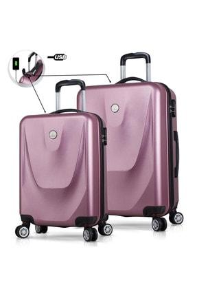 My Valice Unisex Smart Bag Energy Usb Şarj Girişli 2'li Valiz Seti (Kabin ve Orta) Rose