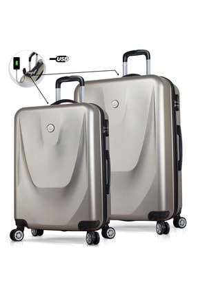 My Valice Unisex Smart Bag Energy Usb Şarj Girişli 2'li Valiz Seti (Büyük ve Orta) Gold