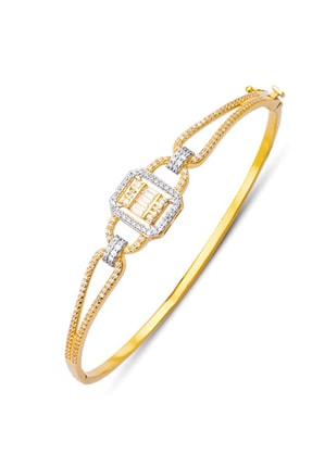 Allegro Gold 14 Ayar Altın Baget Zirkon Taşlı Kelepçe Bilezik