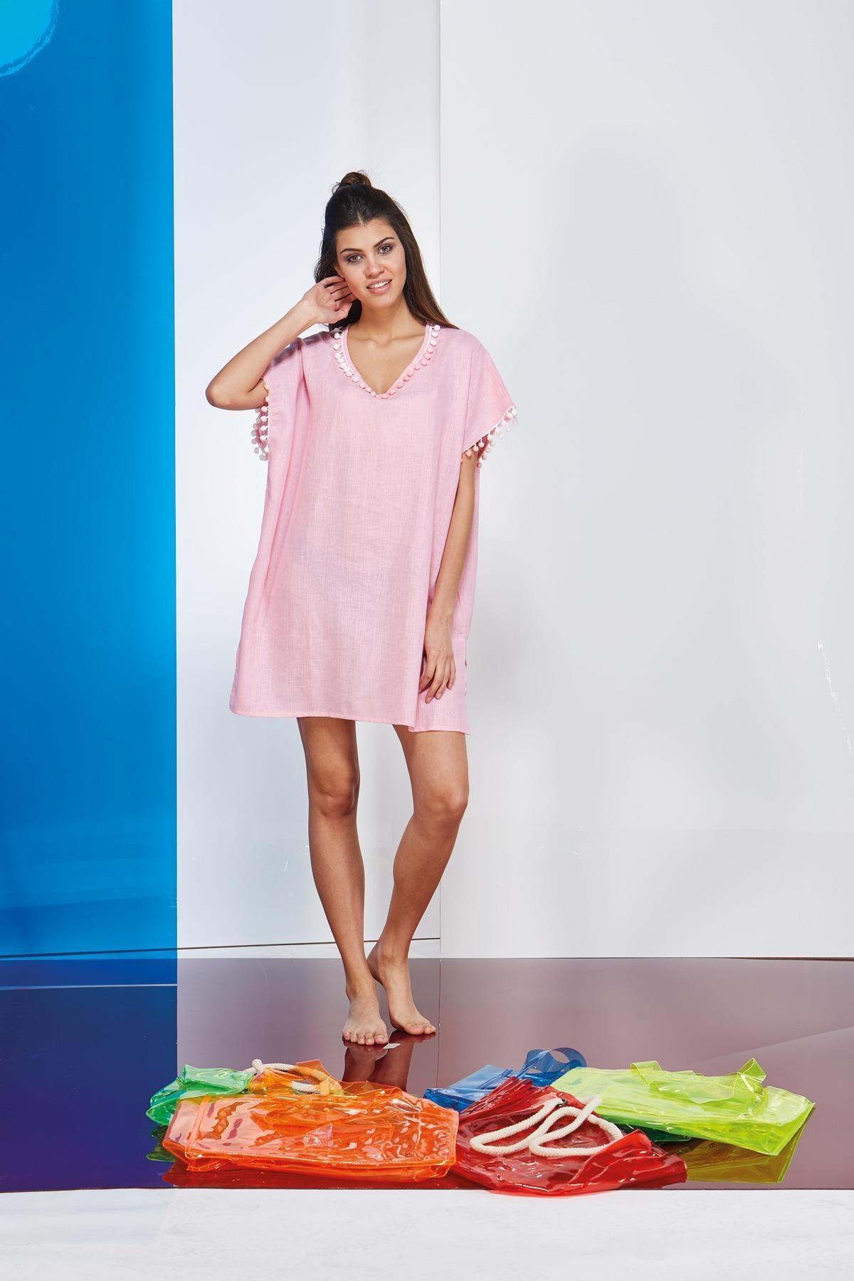 PJS PİJAMA Kadın Pembe Plaj Elbise 20730