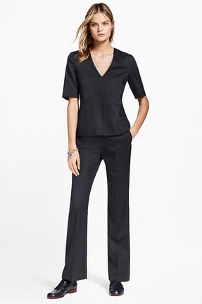 Brooks Brothers Kadın Lacivert Çizgili Geniş Paça Pantolon