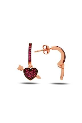 Rams Gümüş Kadın Pembe Fuşya Kalp & Ok Rose Küpe RMS20160