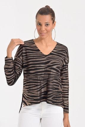 Deppoist Kadın Siyah Bakır Zebra Varaklı Triko Kazak P00012134
