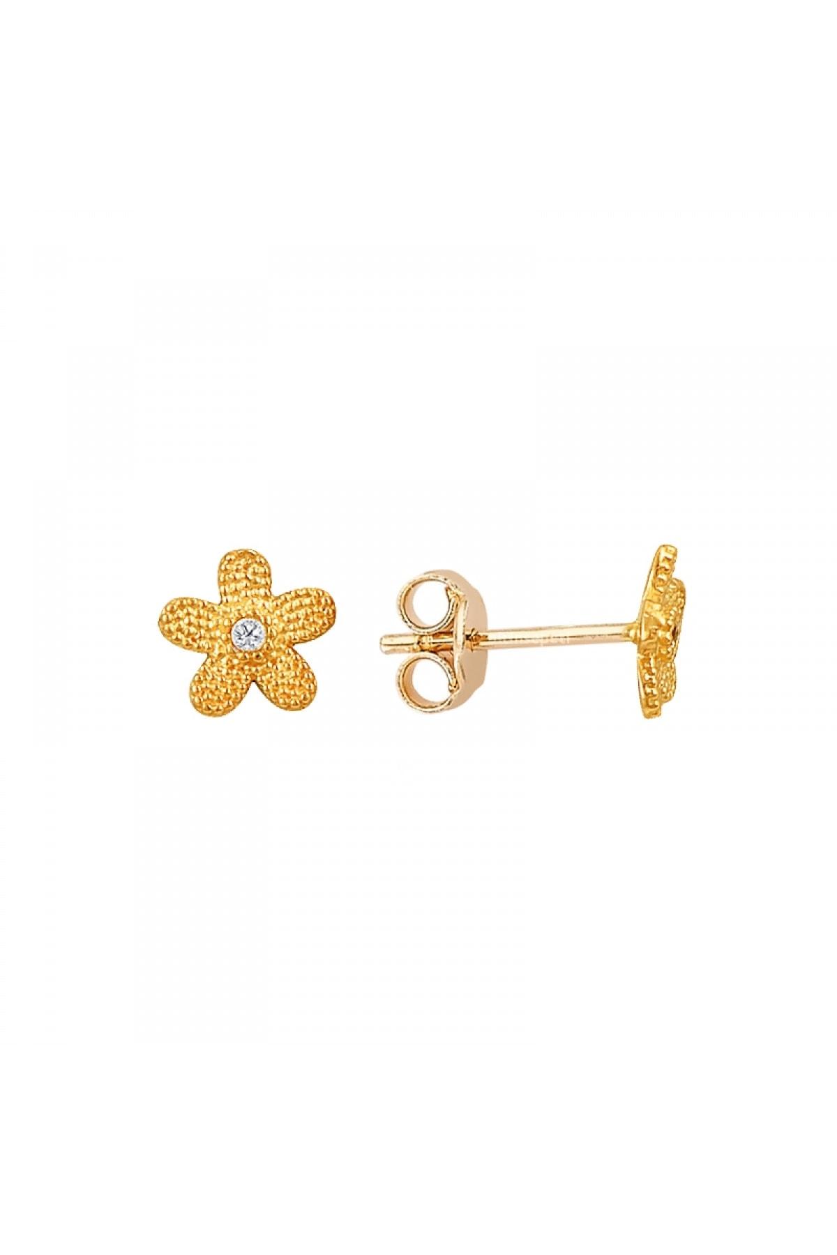 Altın Sepeti Rose Altın Küçük Çiçek Küpe