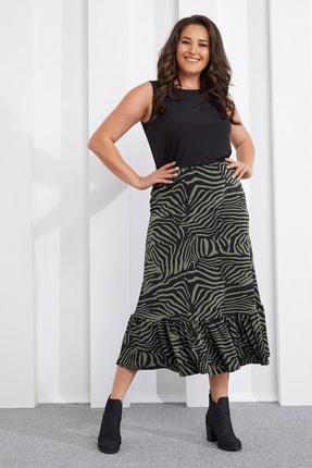 Seamoda Kadın Haki Zebra Desen Etek PRA-654829-150574