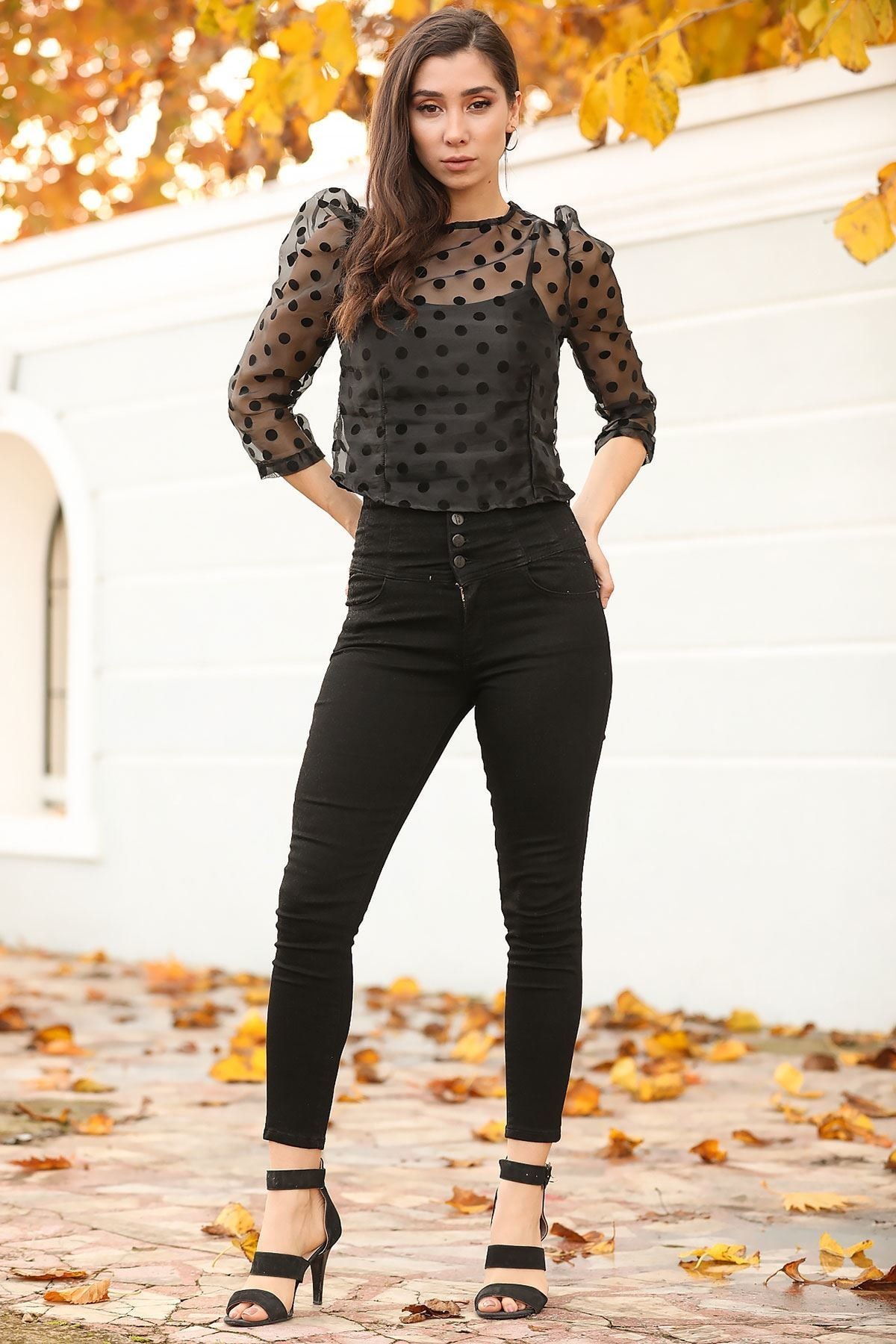 Nesrinden Yüksek Bel Siyah Kadın Kot Pantolon PNT0222D8056