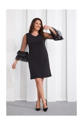 Seamoda Kol Ucu Fırfırlı Elbise Siyah