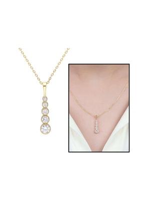 Tesbihane 5'Li Damla Tasarım Zirkon Taşlı Gold Renk Üretildiği Malzeme : 925 Ayar Gümüş Kadın Kolye 103000876