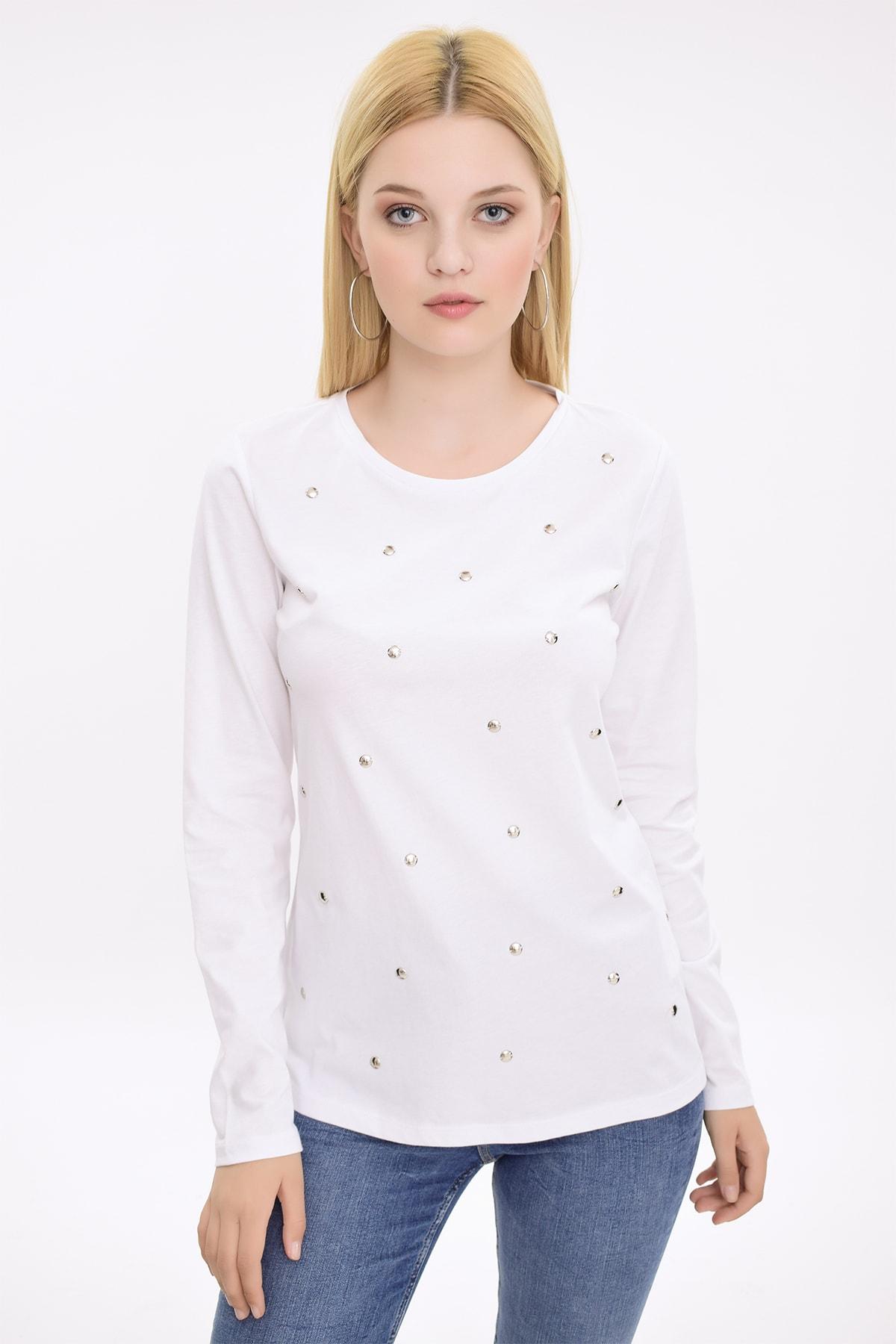 Hanna's Kadın Beyaz Metal Boncuk İşlemeli Uzun Kollu Bluz HN2079