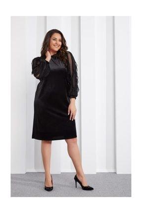 Seamoda Kolu Şifon Üzeri Fırfırlı Kadife Elbise-siyah