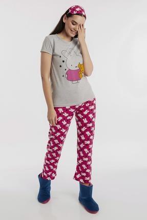 Hadise Gri Tavşan Baskılı Pijama Takım D6149