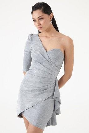 Keikei Gümüş Parıltı Tek Kol Kısa Elbise