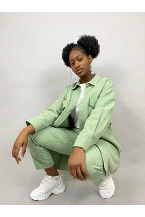 Loreen Mint Yeşili Havuç Pantolon Ceket Tişört Takım 3'lü