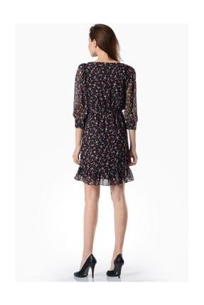 İroni Eteği Fırfırlı Desenli Şifon Elbise