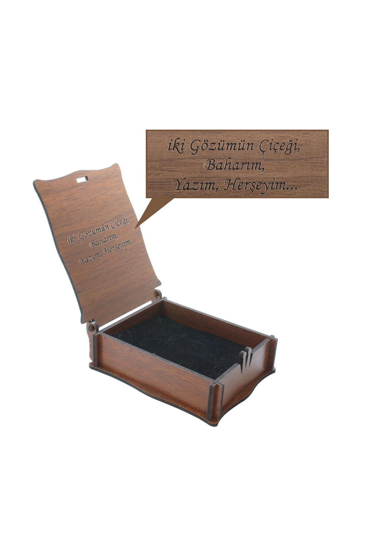 Tesbihane Özel Mesaj Yazılı Kahverengi Ahşap Hediye Takı Seti Kutusu (M-3) 110000068