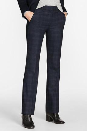 Brooks Brothers Kadın Lacivert Ekose Klasik Pantolon