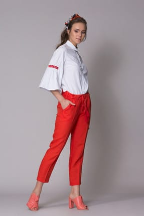 Gizia Kadın Kol Detaylı Taş İşlemeli Beyaz Gömlek M18YBW0171XUQ