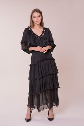 Gizia Kadın V Yaka Taş Detaylı Elbise M18K5X1461TPD