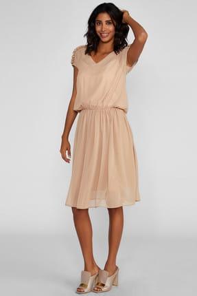 Vekem Kadın Bej Büzgülü Şifon Elbise 8109-0160