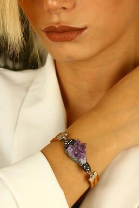 DR Stone Kadın Ametist Bileklik Gümüş Kaplama Xz121Ar333