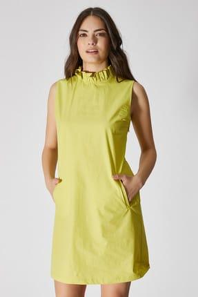 Vekem Kadın Yeşil Kolsuz Fiyonk Detaylı Mini Elbise 9109-0086