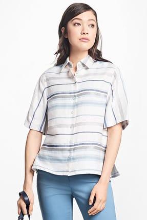Brooks Brothers Kadın Beyaz Çok Renkli Çizgili Gömlek