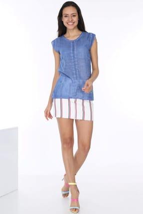 Patiska Kadın Mavi Önü Çiçek Nakışlı Kolsuz Bluz 4018