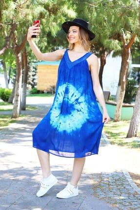 Patiska Kadın Koyu Mavi Yuvarlak Desenli Dantel Detaylı Batik Elbise 4129