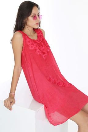 Patiska Kadın Kırmızı Önü Dantelli Eteği Çapraz Çiçek Nakışlı Elbise 4022