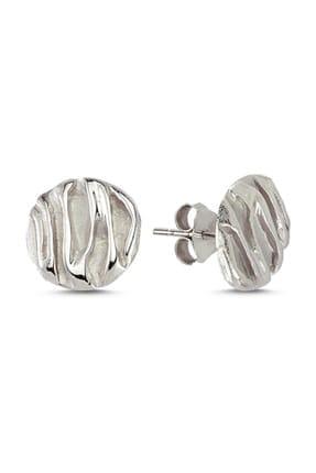 Tevuli Kadın Gümüş 925 Ayar Taşsız Buruşuk Yuvarlak Küpe E82278