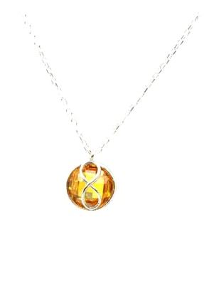 Nusret Takı Kadın 925 Ayar Gümüş Sonsuzluk Sitrin Kolye WHYL1257