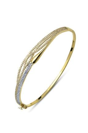 Allegro Gold 14 Ayar Altın Zirkon Sırataşlı Kelepçe Bilezik