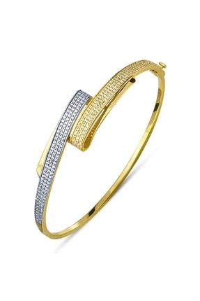 Allegro Gold 8 Ayar Altın Zirkon Çift Sırataşlı Kelepçe Bilezik