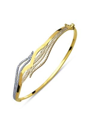 Allegro Gold 14 Ayar Altın Zirkon Taşlı Dalgalı Kelepçe Bilezik