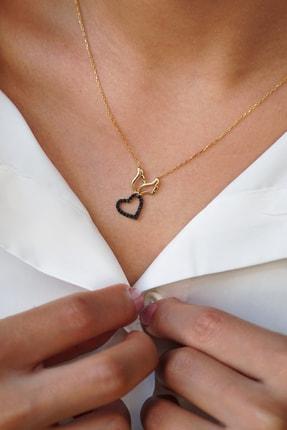 Dalmarkt Kadın 925 Ayar Gümüş Melek Kanadı Figürlü Kalp Desenli Siyah Taşlı Kolye BHMNVWX81