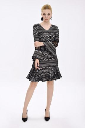 Hanna's Kadın Siyah-Gri V Yakalı Kolları Volanlı Ve Dantel Ayrıntılı Elbise HN2107