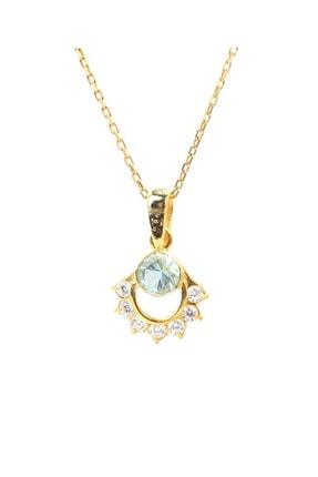 Nusret Takı Kadın 925 Ayar Gümüş Nişane Tasarım Akuamarin Taşlı Kolye WGKL482