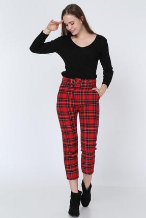Deppoist Kadın Kırmızı Kaşe Ekose Desen Pantolon P00012206
