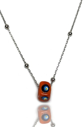 Midyat Gümüş Dünyası Kadın Kırmızı Boncuklu Top Zincirli Nazarlık Kolye  MGD2020904D