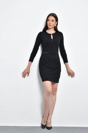 Hanna's Kadın Siyah Boncuk İşlemeli Uzun Kollu Dar Elbise HN394