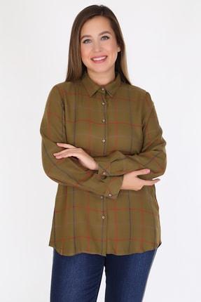 Rmg Kadın Haki Kareli Uzun Kol Gömlek 6921