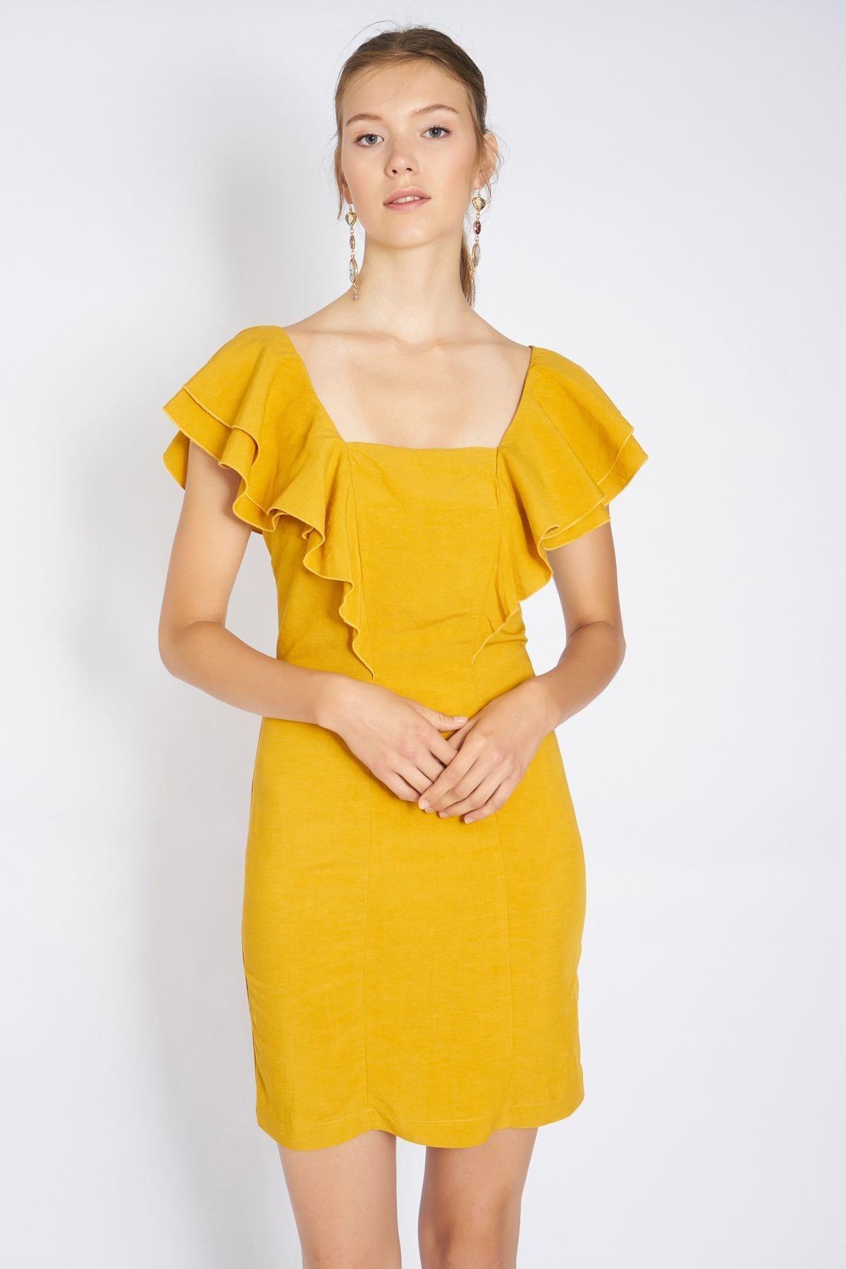 Home Store Kadın Hardal Elbise 19101016671