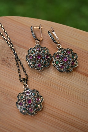 Stoneage Jewellery Kök Zümrüt Kök Yakut Taşlı Otantik Kolye