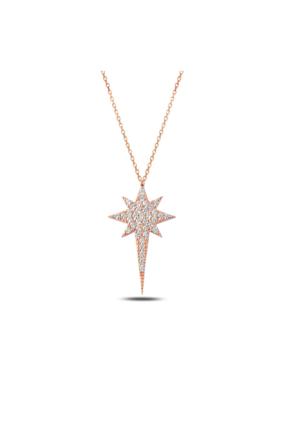 Silverella Gümüş 925 Ayar Zirkon Taşlı Kuzey Yıldızı Kolye