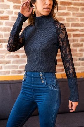 Güneşkızı Kadın Lacivert Kolu Dantel Detaylı Bluz GK-BST30kT4006-1750