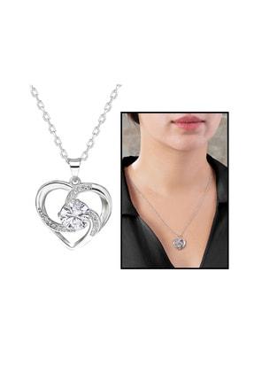 Tesbihane Zirkon Tektaşlı Kalp Tasarım 925 Ayar Gümüş Kolye 103000945