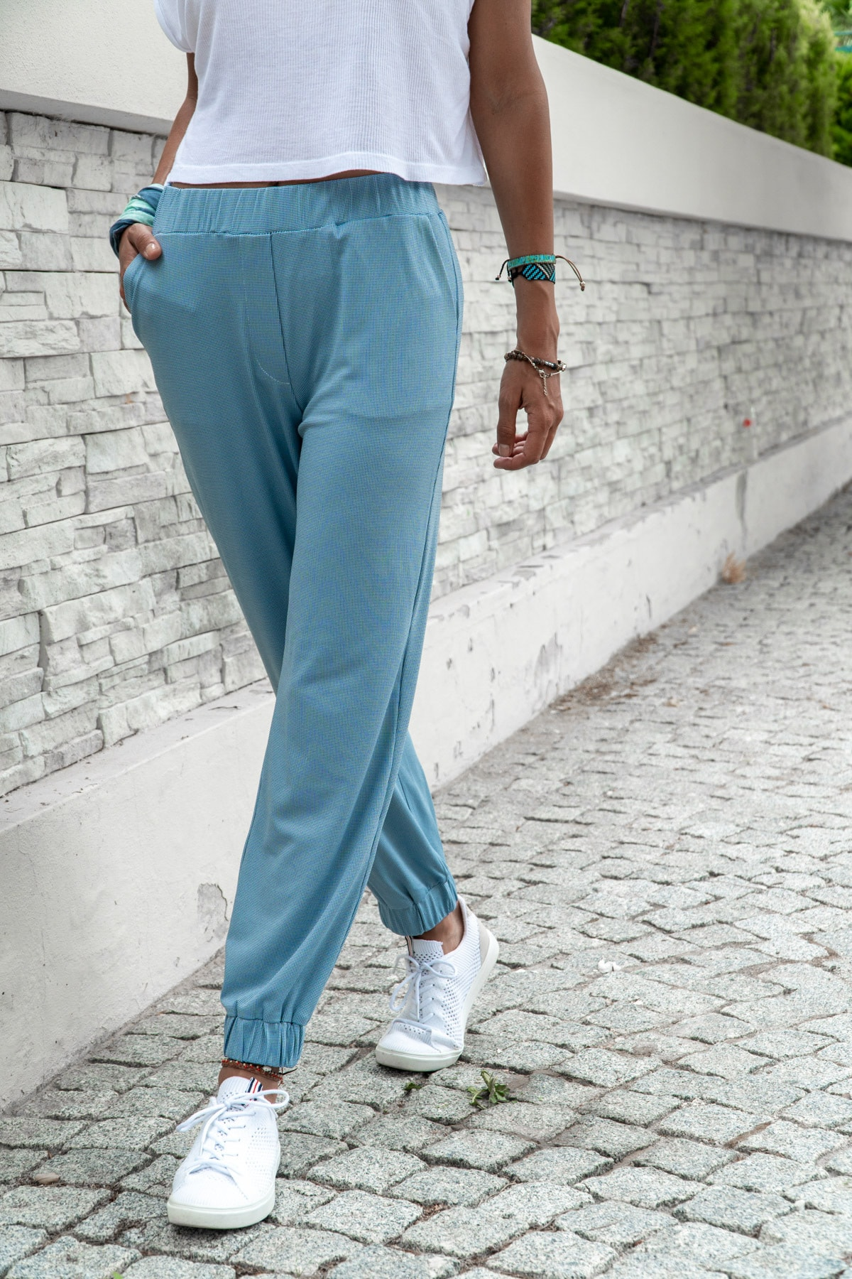 Güneşkızı Kadın Mavi Paçası Lastikli Yumuşak Dokulu Salaş Pantolon Gk-Bst2888