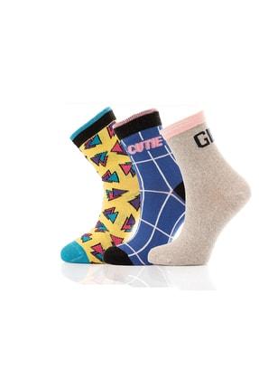 Miorre Kadın Renkli 3'lü Soket Çorabı