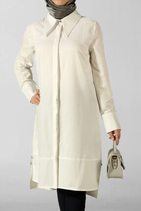 ALLDAY Kadın Ekru Yakalı Patlı Yırtmaçlı Gömlek Tunik