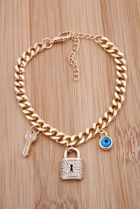 Pelin Aksesuar Nazarboncuklu Zirkon Taşlı Kilit Anahtar Figürlü Gold Bileklik